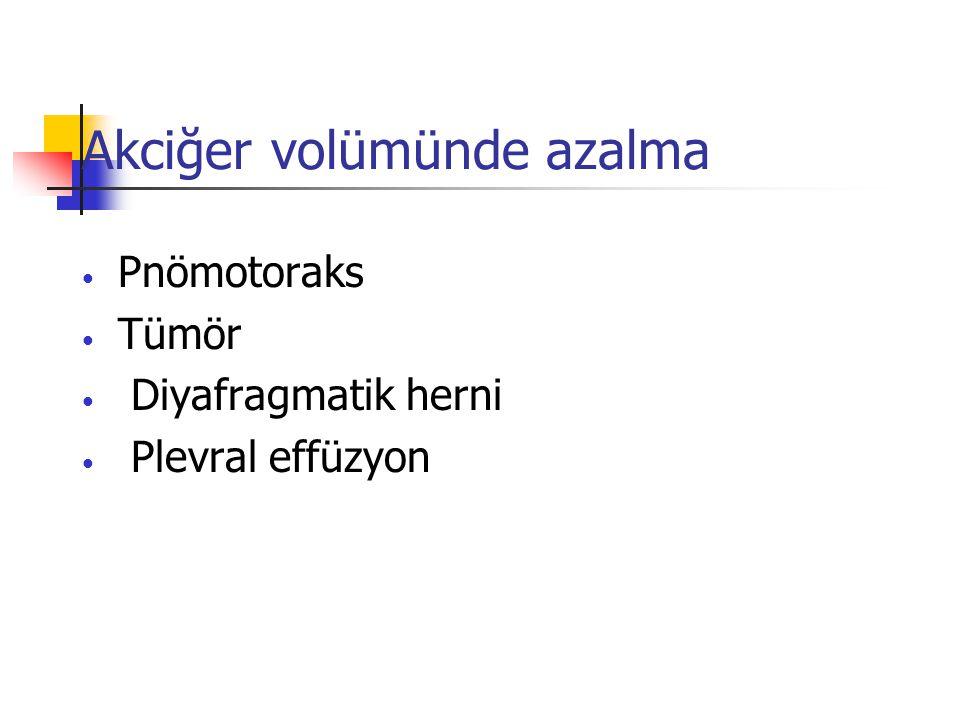 Akciğer volümünde azalma Pnömotoraks Tümör Diyafragmatik herni Plevral effüzyon