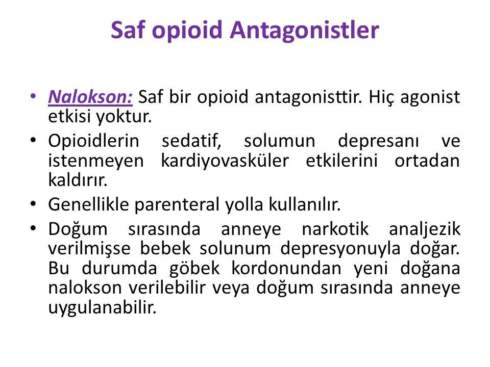 Saf opioid Antagonistler Nalokson: Saf bir opioid antagonisttir. Hiç agonist etkisi yoktur. Opioidlerin sedatif, solumun depresanı ve istenmeyen kardi