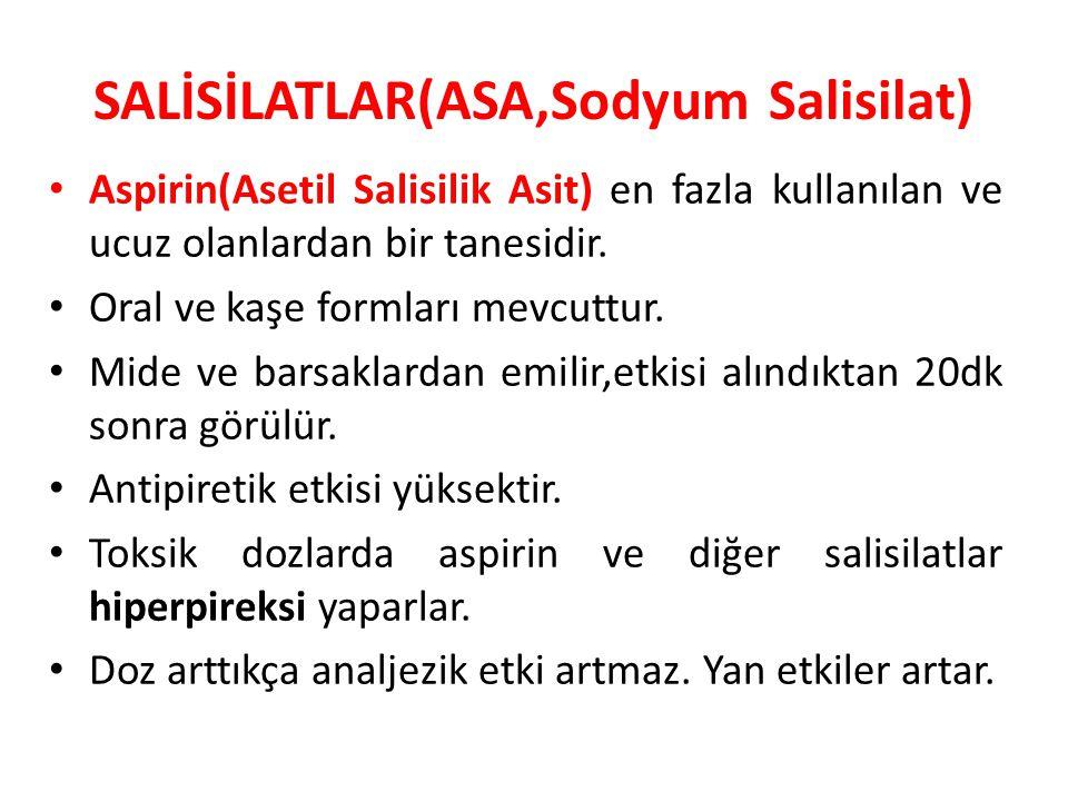SALİSİLATLAR(ASA,Sodyum Salisilat) Aspirin(Asetil Salisilik Asit) en fazla kullanılan ve ucuz olanlardan bir tanesidir. Oral ve kaşe formları mevcuttu