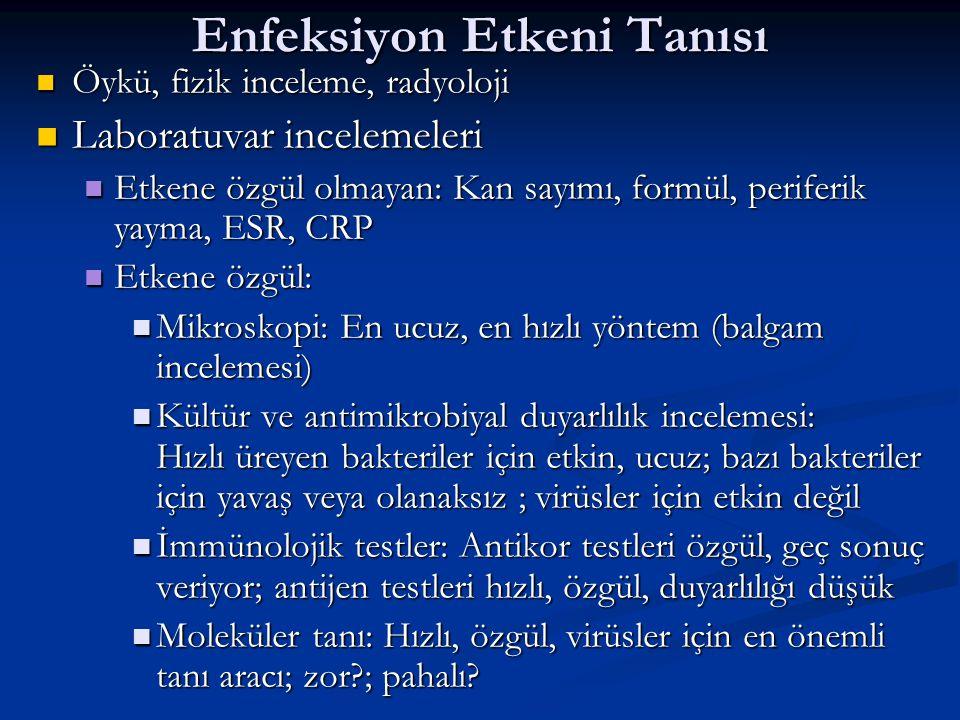 Enfeksiyon Etkeni Tanısı Öykü, fizik inceleme, radyoloji Öykü, fizik inceleme, radyoloji Laboratuvar incelemeleri Laboratuvar incelemeleri Etkene özgül olmayan: Kan sayımı, formül, periferik yayma, ESR, CRP Etkene özgül olmayan: Kan sayımı, formül, periferik yayma, ESR, CRP Etkene özgül: Etkene özgül: Mikroskopi: En ucuz, en hızlı yöntem (balgam incelemesi) Mikroskopi: En ucuz, en hızlı yöntem (balgam incelemesi) Kültür ve antimikrobiyal duyarlılık incelemesi: Hızlı üreyen bakteriler için etkin, ucuz; bazı bakteriler için yavaş veya olanaksız ; virüsler için etkin değil Kültür ve antimikrobiyal duyarlılık incelemesi: Hızlı üreyen bakteriler için etkin, ucuz; bazı bakteriler için yavaş veya olanaksız ; virüsler için etkin değil İmmünolojik testler: Antikor testleri özgül, geç sonuç veriyor; antijen testleri hızlı, özgül, duyarlılığı düşük İmmünolojik testler: Antikor testleri özgül, geç sonuç veriyor; antijen testleri hızlı, özgül, duyarlılığı düşük Moleküler tanı: Hızlı, özgül, virüsler için en önemli tanı aracı; zor?; pahalı.