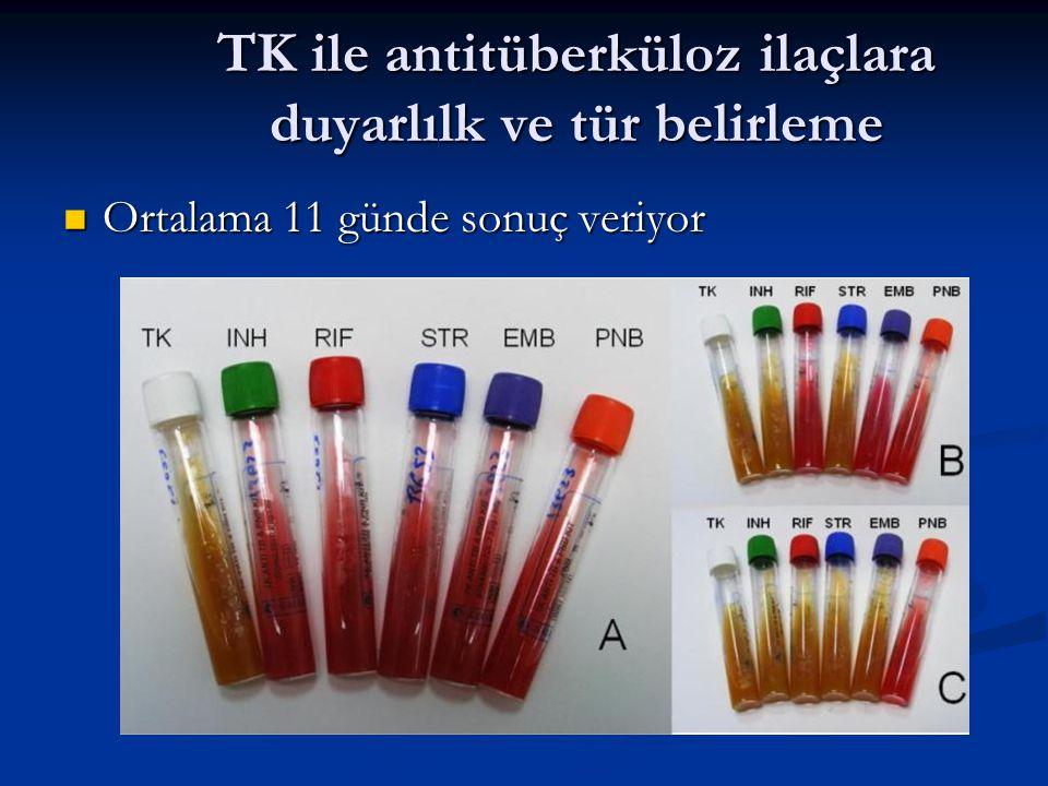 TK ile antitüberküloz ilaçlara duyarlılk ve tür belirleme Ortalama 11 günde sonuç veriyor Ortalama 11 günde sonuç veriyor