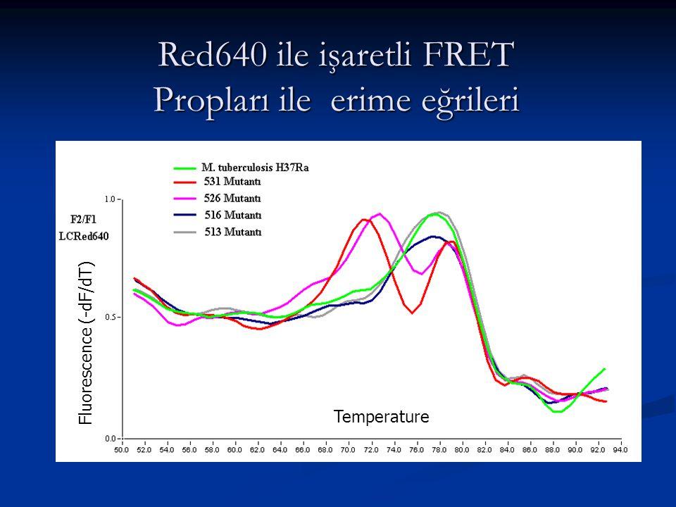 Red640 ile işaretli FRET Propları ile erime eğrileri Fluorescence (-dF/dT) Temperature