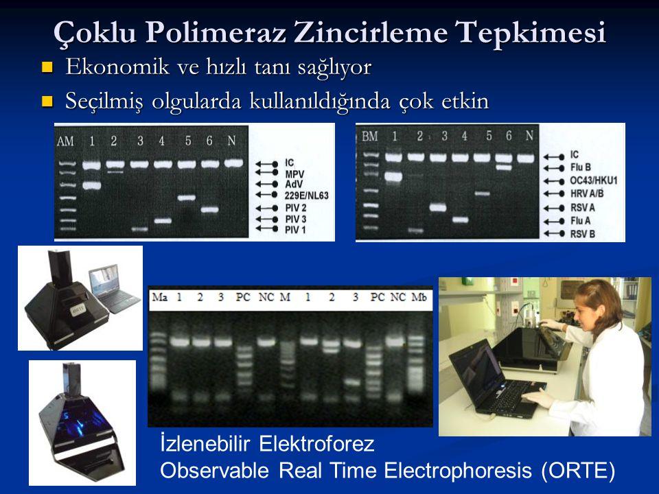 Çoklu Polimeraz Zincirleme Tepkimesi Ekonomik ve hızlı tanı sağlıyor Ekonomik ve hızlı tanı sağlıyor Seçilmiş olgularda kullanıldığında çok etkin Seçilmiş olgularda kullanıldığında çok etkin İzlenebilir Elektroforez Observable Real Time Electrophoresis (ORTE)