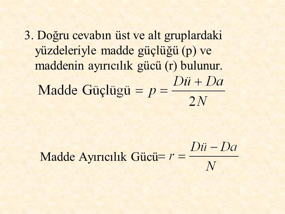 3. Doğru cevabın üst ve alt gruplardaki yüzdeleriyle madde güçlüğü (p) ve maddenin ayırıcılık gücü (r) bulunur. Madde Ayırıcılık Gücü