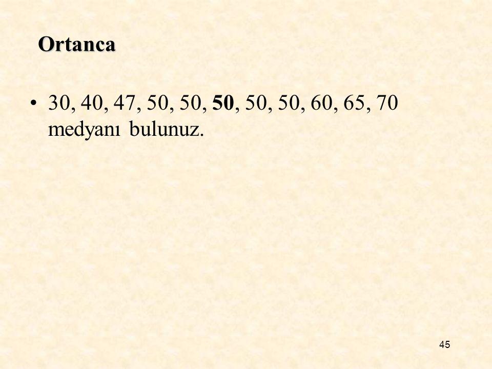 45 Ortanca 30, 40, 47, 50, 50, 50, 50, 50, 60, 65, 70 medyanı bulunuz.