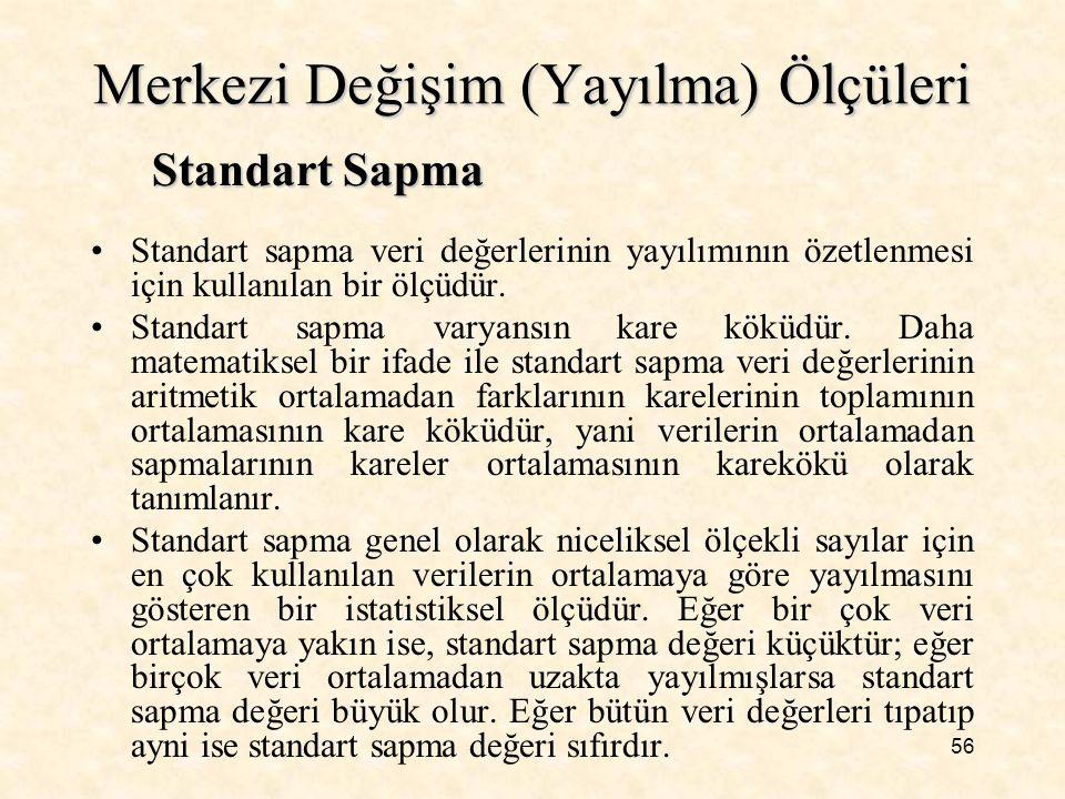 56 Merkezi Değişim (Yayılma) Ölçüleri Standart sapma veri değerlerinin yayılımının özetlenmesi için kullanılan bir ölçüdür. Standart sapma varyansın k