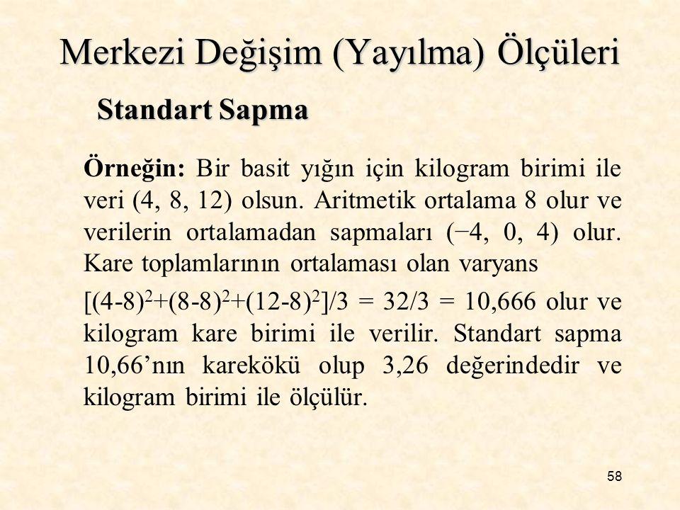 58 Merkezi Değişim (Yayılma) Ölçüleri Örneğin: Bir basit yığın için kilogram birimi ile veri (4, 8, 12) olsun. Aritmetik ortalama 8 olur ve verilerin