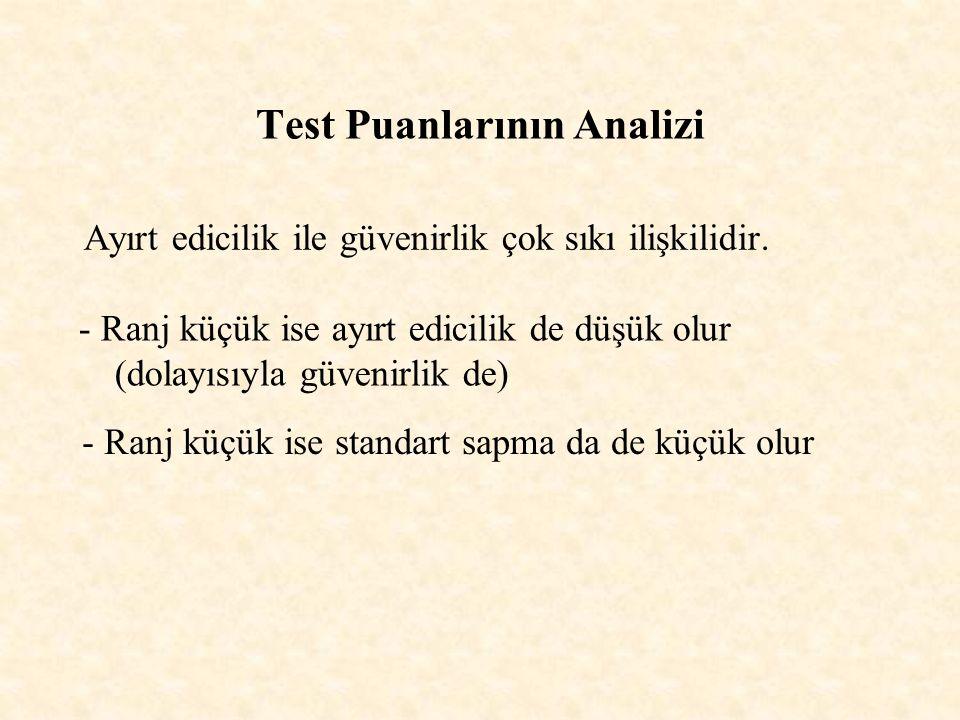 Test Puanlarının Analizi Ayırt edicilik ile güvenirlik çok sıkı ilişkilidir. - Ranj küçük ise ayırt edicilik de düşük olur (dolayısıyla güvenirlik de)