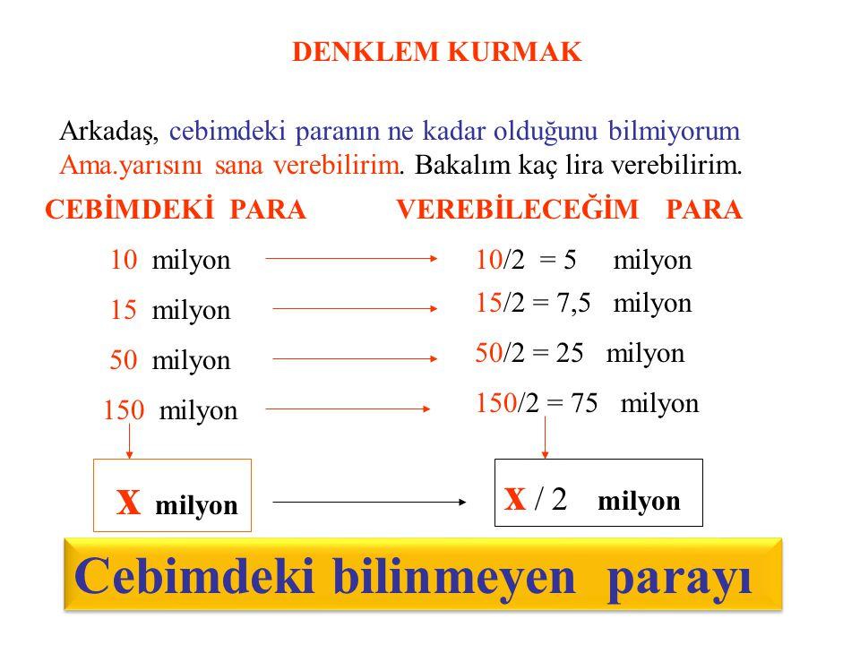 BİRİNCİ DERECEDEN BİR BİLİNMEYENLİ DENKLEMLER 4 + x = 13 4 + 9 = 13 Soru.