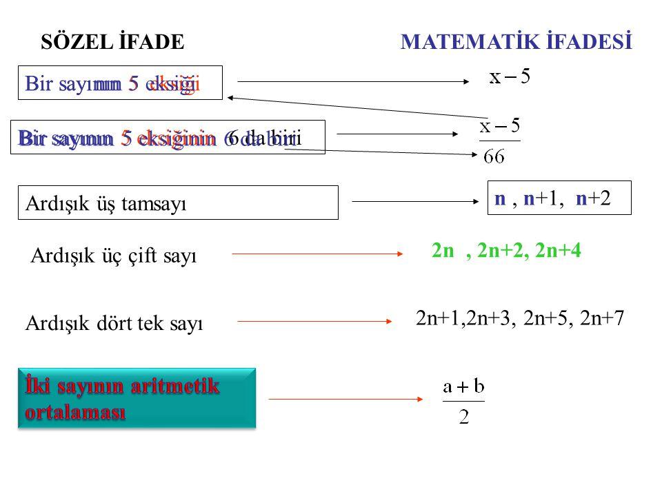 SÖZEL İFADEMATEMATİK İFADESİ Üç sayının aritmetik ortalaması İki basamaklı sayı a b= 10 a+ b Üç basamaklı sayı abc=100a+10b+c Bir sayının yüzde beşi