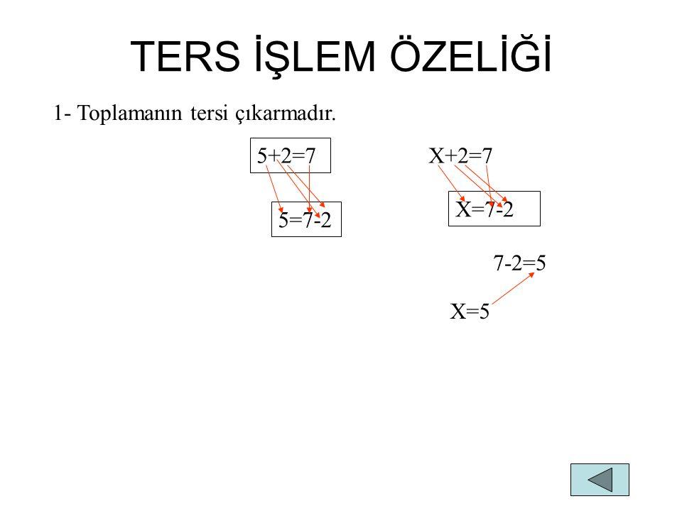 2-Çıkarmanın tersi toplamadır. 7-2=5 7=5+2 X-2=5 X=5+2 X=7 5+2=7