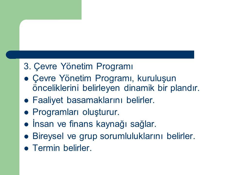 3. Çevre Yönetim Programı Çevre Yönetim Programı, kuruluşun önceliklerini belirleyen dinamik bir plandır. Faaliyet basamaklarını belirler. Programları