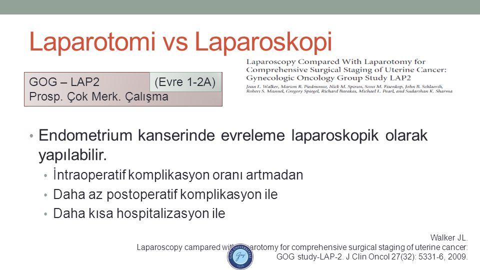 Laparotomi vs Laparoskopi GOG – LAP2 Prosp. Çok Merk. Çalışma (Evre 1-2A) Walker JL. Laparoscopy campared with laparotomy for comprehensive surgical s