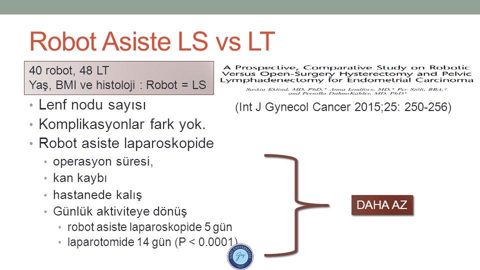 Robot Asiste LS vs LT Lenf nodu sayısı Komplikasyonlar fark yok. Robot asiste laparoskopide operasyon süresi, kan kaybı hastanede kalış Günlük aktivit
