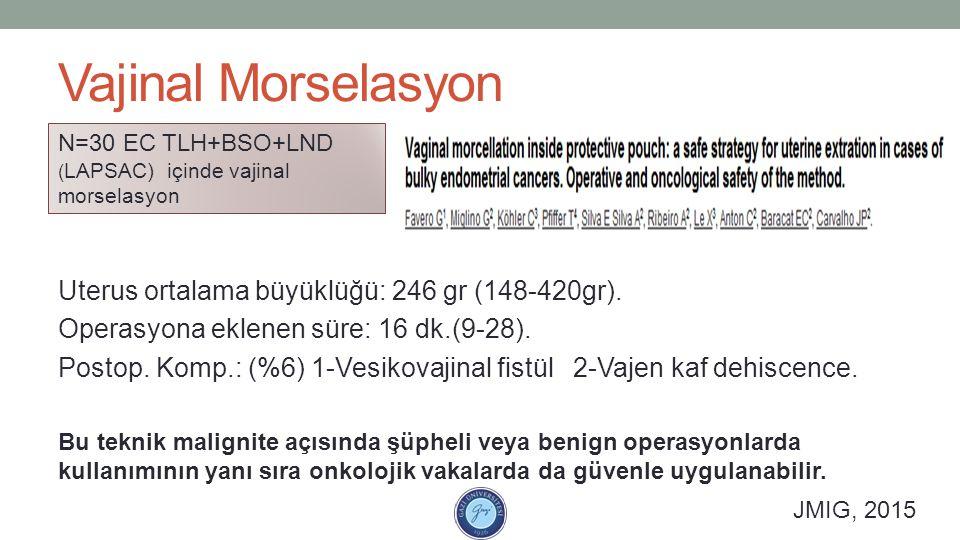 Vajinal Morselasyon Uterus ortalama büyüklüğü: 246 gr (148-420gr). Operasyona eklenen süre: 16 dk.(9-28). Postop. Komp.: (%6) 1-Vesikovajinal fistül 2