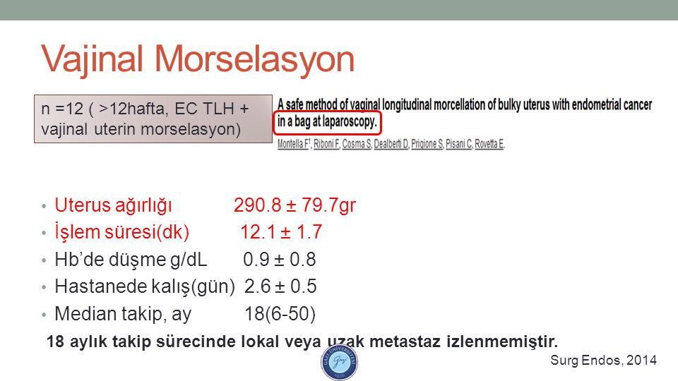 Vajinal Morselasyon Uterus ağırlığı 290.8 ± 79.7gr İşlem süresi(dk) 12.1 ± 1.7 Hb'de düşme g/dL 0.9 ± 0.8 Hastanede kalış(gün) 2.6 ± 0.5 Median takip,