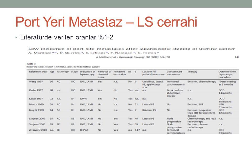 Port Yeri Metastaz – LS cerrahi Literatürde verilen oranlar %1-2