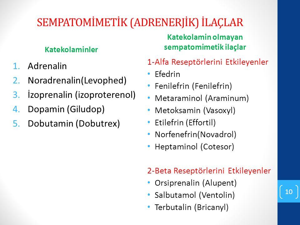 SEMPATOMİMETİK (ADRENERJİK) İLAÇLAR Katekolaminler 1.Adrenalin 2.Noradrenalin(Levophed) 3.İzoprenalin (izoproterenol) 4.Dopamin (Giludop) 5.Dobutamin