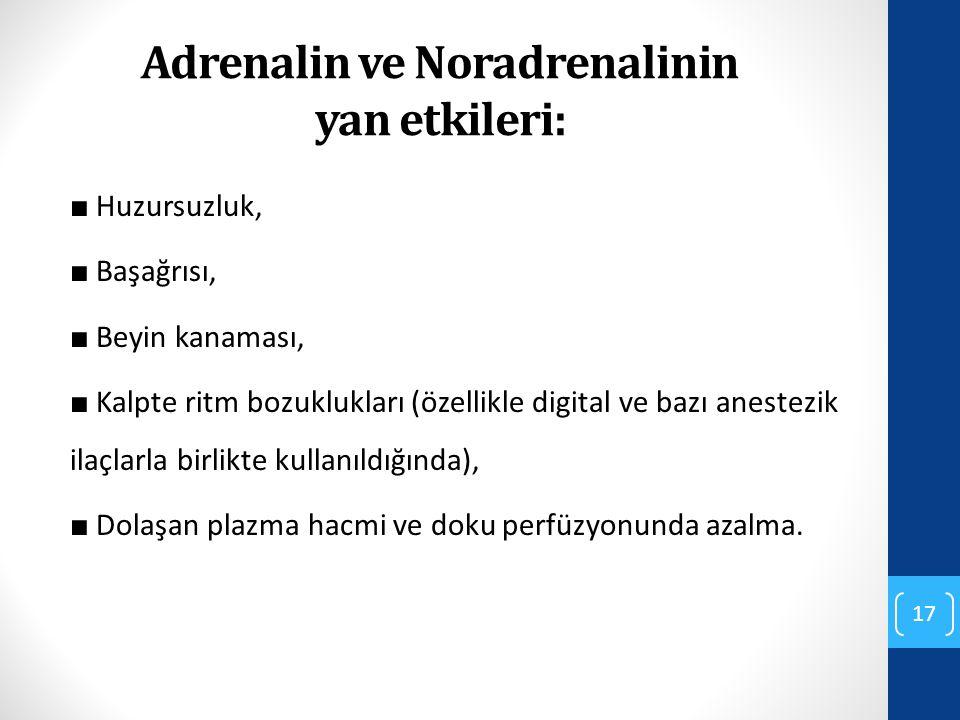 Adrenalin ve Noradrenalinin yan etkileri: ■ Huzursuzluk, ■ Başağrısı, ■ Beyin kanaması, ■ Kalpte ritm bozuklukları (özellikle digital ve bazı anestezi