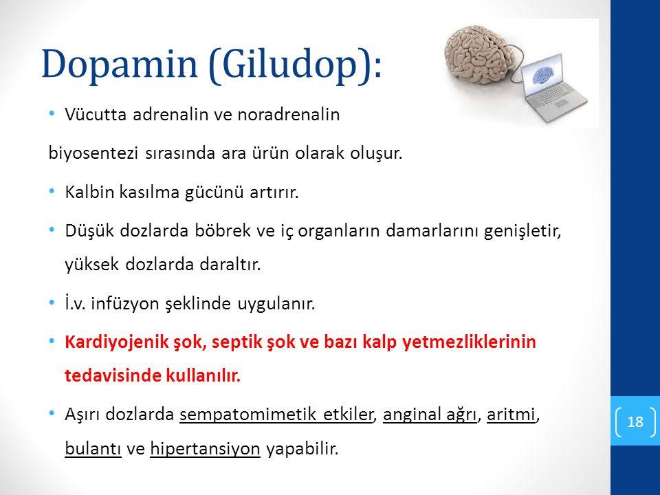 Dopamin (Giludop): Vücutta adrenalin ve noradrenalin biyosentezi sırasında ara ürün olarak oluşur. Kalbin kasılma gücünü artırır. Düşük dozlarda böbre