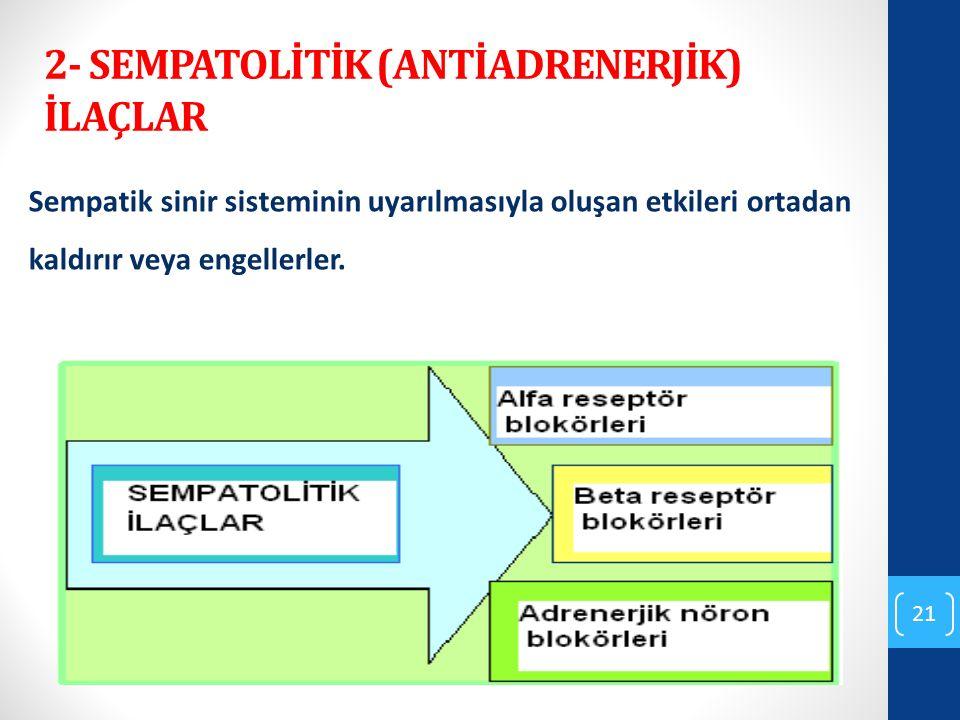 2- SEMPATOLİTİK (ANTİADRENERJİK) İLAÇLAR Sempatik sinir sisteminin uyarılmasıyla oluşan etkileri ortadan kaldırır veya engellerler. 21