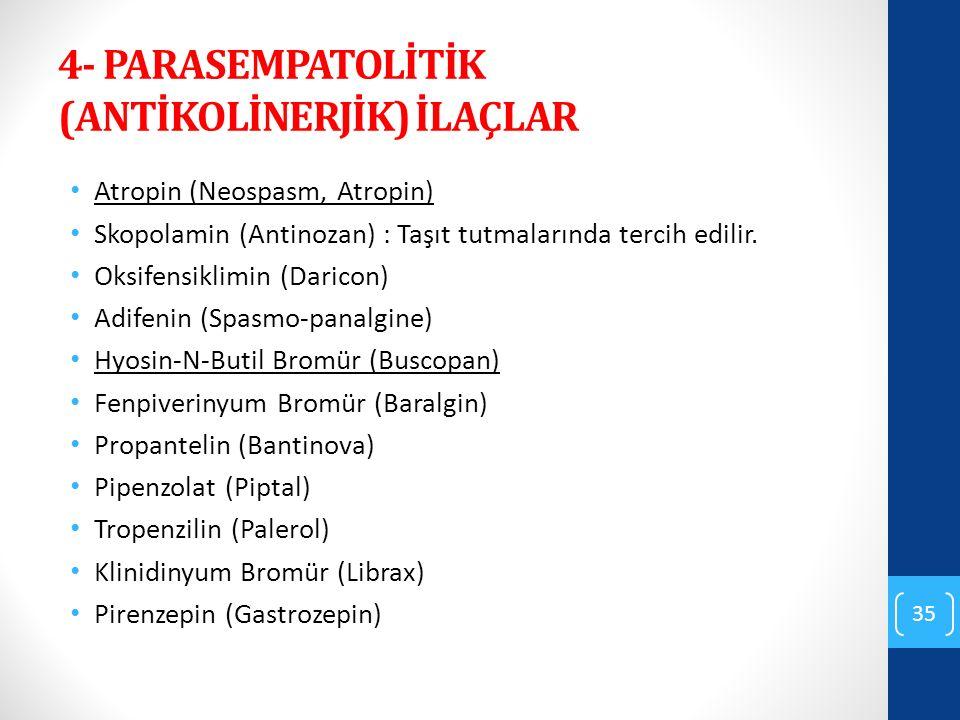 4- PARASEMPATOLİTİK (ANTİKOLİNERJİK) İLAÇLAR Atropin (Neospasm, Atropin) Skopolamin (Antinozan) : Taşıt tutmalarında tercih edilir. Oksifensiklimin (D