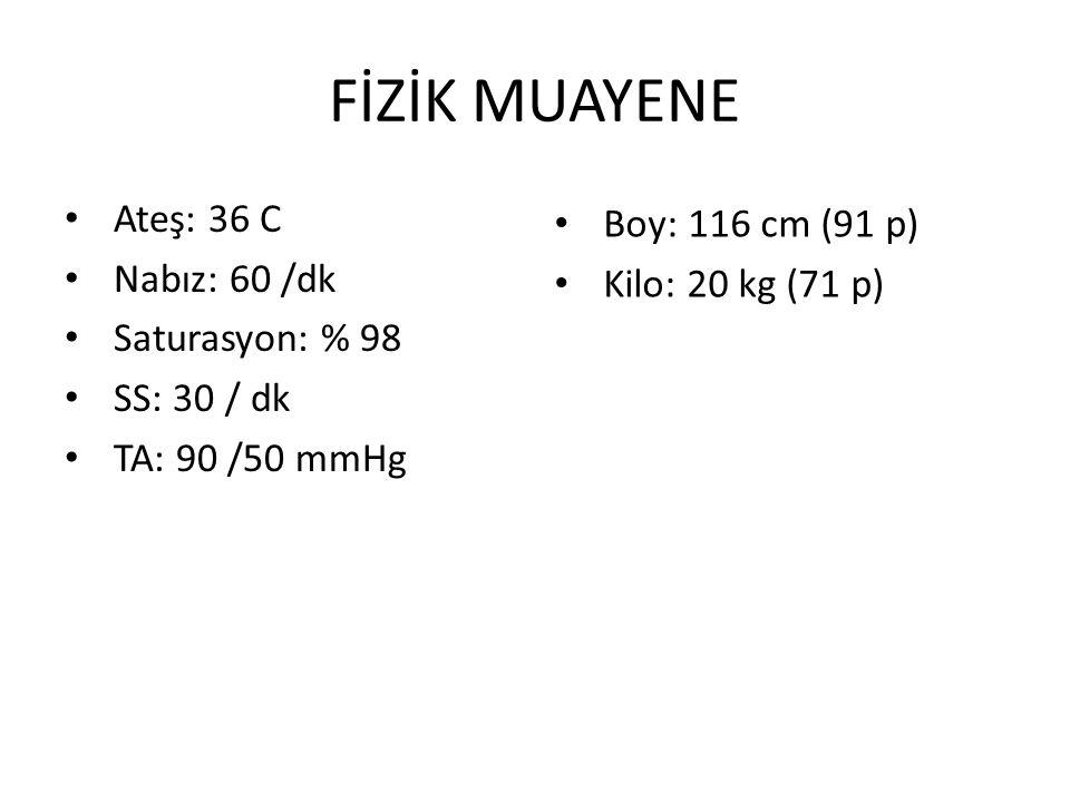 FİZİK MUAYENE Ateş: 36 C Nabız: 60 /dk Saturasyon: % 98 SS: 30 / dk TA: 90 /50 mmHg Boy: 116 cm (91 p) Kilo: 20 kg (71 p)