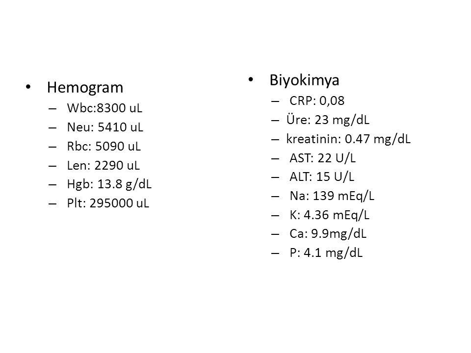 Hemogram – Wbc:8300 uL – Neu: 5410 uL – Rbc: 5090 uL – Len: 2290 uL – Hgb: 13.8 g/dL – Plt: 295000 uL Biyokimya – CRP: 0,08 – Üre: 23 mg/dL – kreatinin: 0.47 mg/dL – AST: 22 U/L – ALT: 15 U/L – Na: 139 mEq/L – K: 4.36 mEq/L – Ca: 9.9mg/dL – P: 4.1 mg/dL