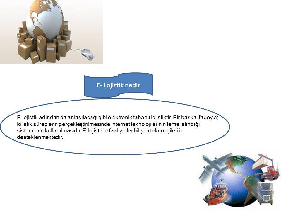 E-lojistik adından da anlaşılacağı gibi elektronik tabanlı lojistiktir. Bir başka ifadeyle; lojistik süreçlerin gerçekleştirilmesinde internet teknolo
