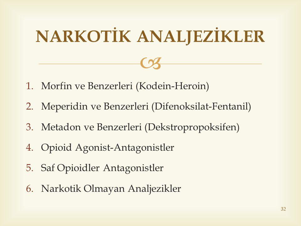  1.Morfin ve Benzerleri (Kodein-Heroin) 2.Meperidin ve Benzerleri (Difenoksilat-Fentanil) 3.Metadon ve Benzerleri (Dekstropropoksifen) 4.Opioid Agoni