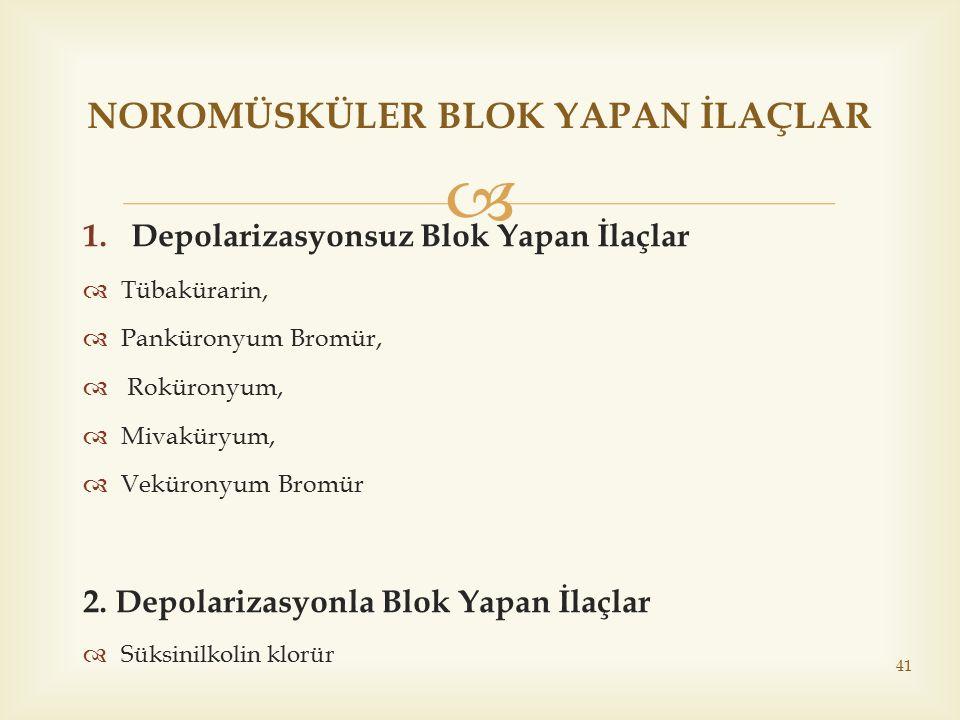  1.Depolarizasyonsuz Blok Yapan İlaçlar  Tübakürarin,  Panküronyum Bromür,  Roküronyum,  Mivaküryum,  Veküronyum Bromür 2. Depolarizasyonla Blok