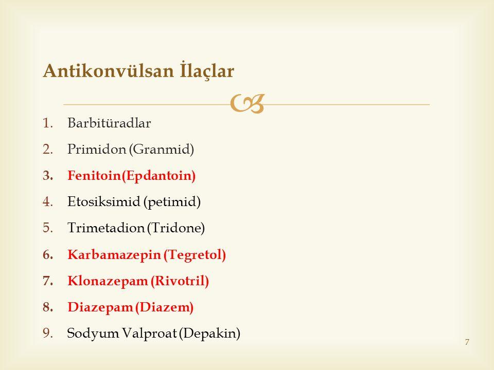  1.Barbitüradlar 2.Primidon (Granmid) 3.Fenitoin(Epdantoin) 4.Etosiksimid (petimid) 5.Trimetadion (Tridone) 6.Karbamazepin (Tegretol) 7.Klonazepam (R