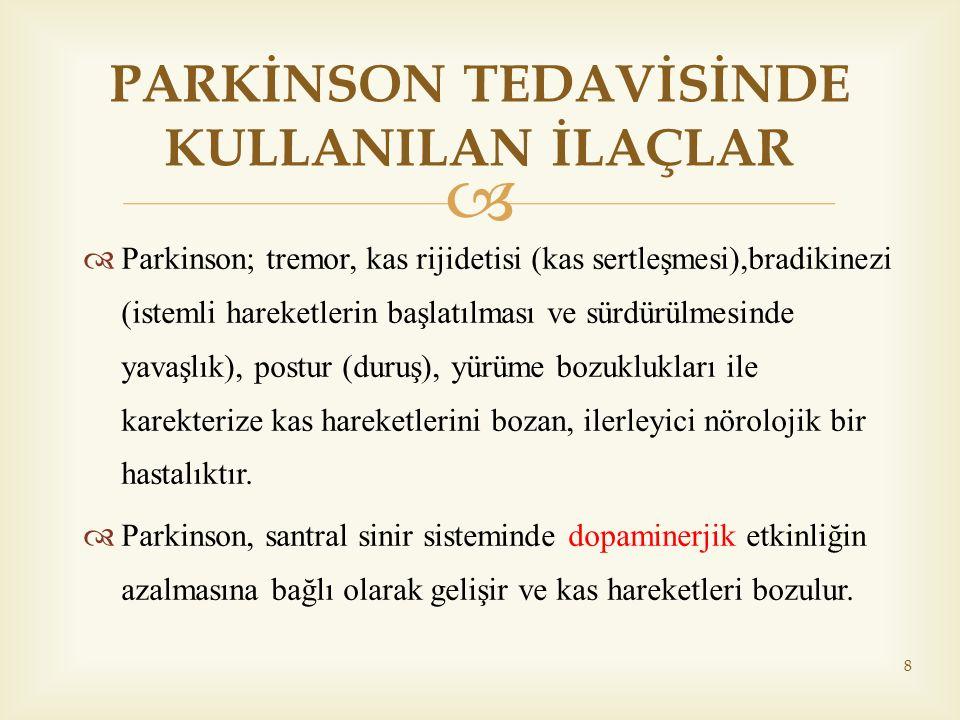   Parkinson; tremor, kas rijidetisi (kas sertleşmesi),bradikinezi (istemli hareketlerin başlatılması ve sürdürülmesinde yavaşlık), postur (duruş), y