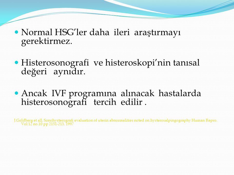 Normal HSG'ler daha ileri araştırmayı gerektirmez. Histerosonografi ve histeroskopi'nin tanısal değeri aynıdır. Ancak IVF programına alınacak hastalar