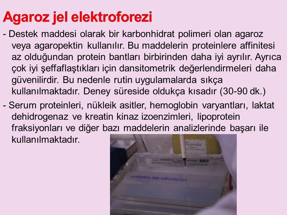 - Destek maddesi olarak bir karbonhidrat polimeri olan agaroz veya agaropektin kullanılır. Bu maddelerin proteinlere affinitesi az olduğundan protein