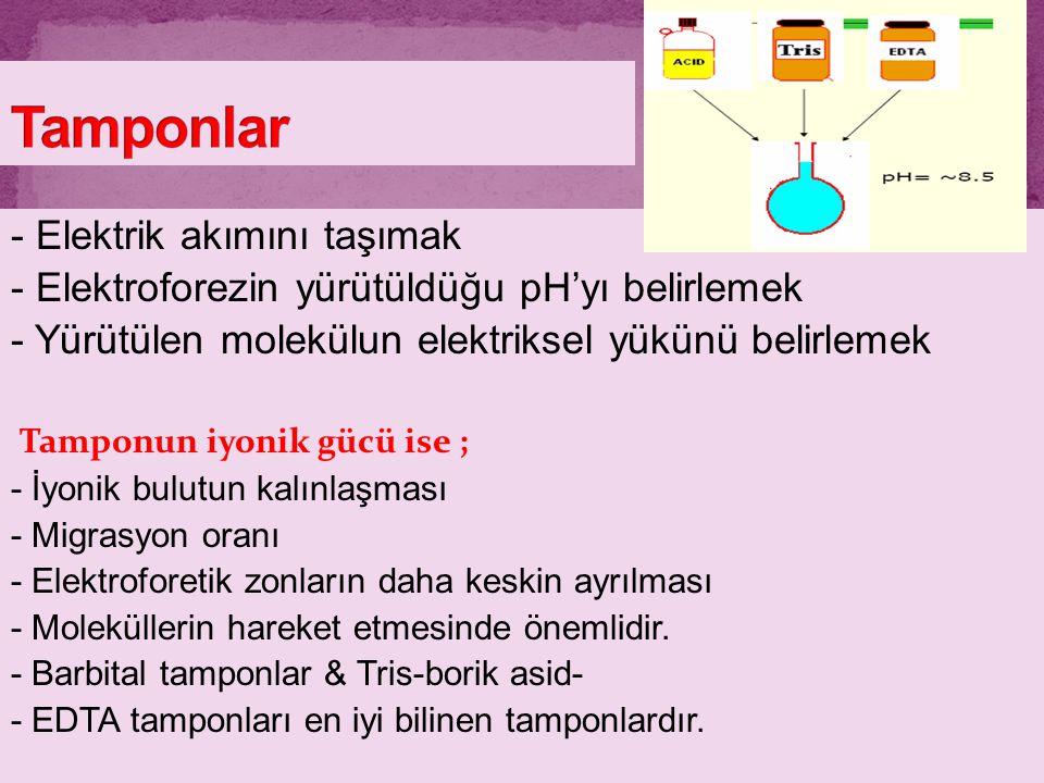 - Elektrik akımını taşımak - Elektroforezin yürütüldüğu pH'yı belirlemek - Yürütülen molekülun elektriksel yükünü belirlemek Tamponun iyonik gücü ise