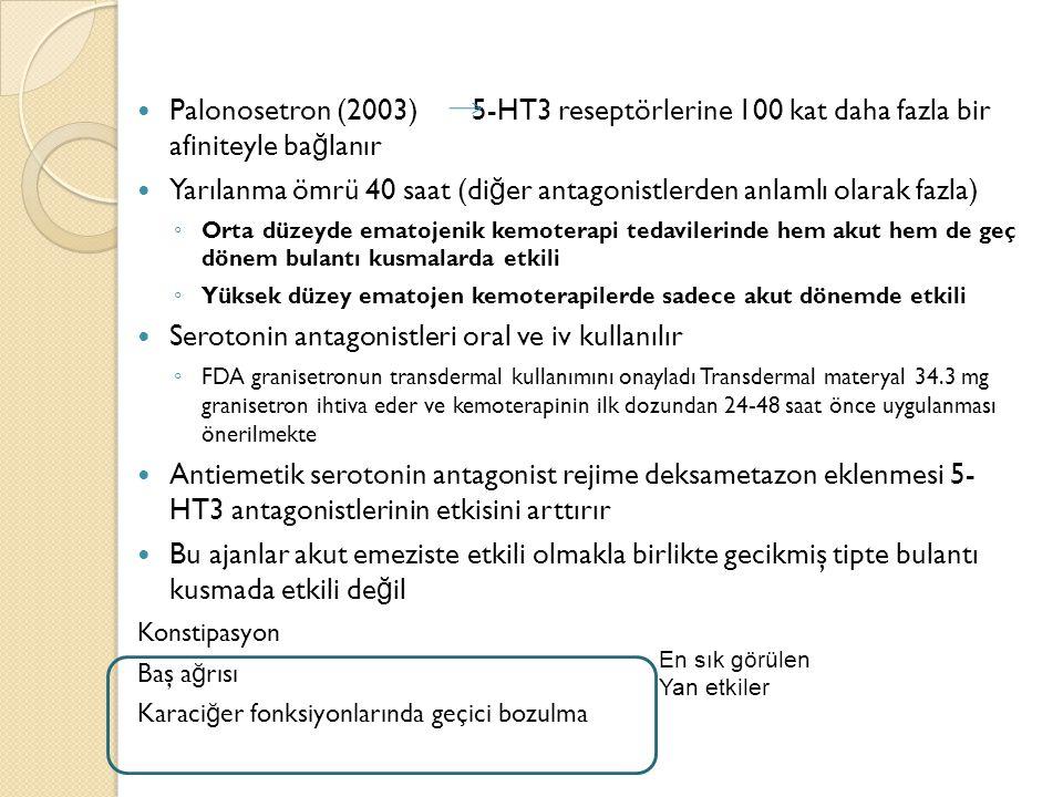 Palonosetron (2003) 5-HT3 reseptörlerine 100 kat daha fazla bir afiniteyle ba ğ lanır Yarılanma ömrü 40 saat (di ğ er antagonistlerden anlamlı olarak