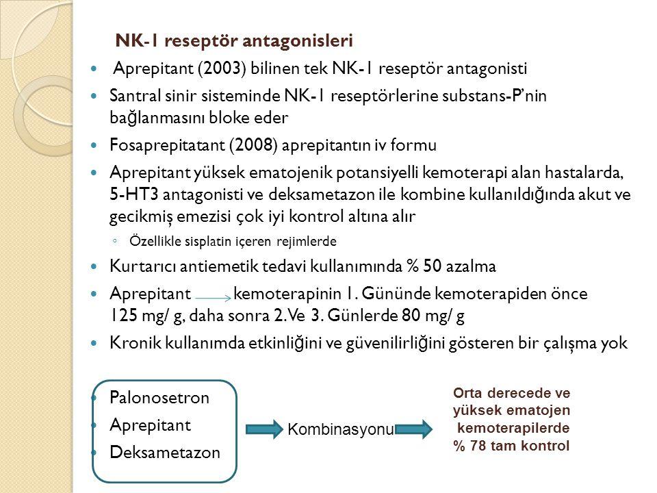 NK-1 reseptör antagonisleri Aprepitant (2003) bilinen tek NK-1 reseptör antagonisti Santral sinir sisteminde NK-1 reseptörlerine substans-P'nin ba ğ l