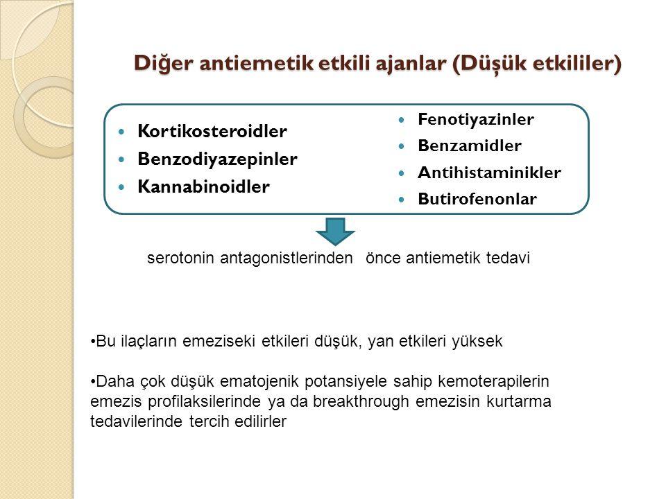 Di ğ er antiemetik etkili ajanlar (Düşük etkililer) Kortikosteroidler Benzodiyazepinler Kannabinoidler Fenotiyazinler Benzamidler Antihistaminikler Bu