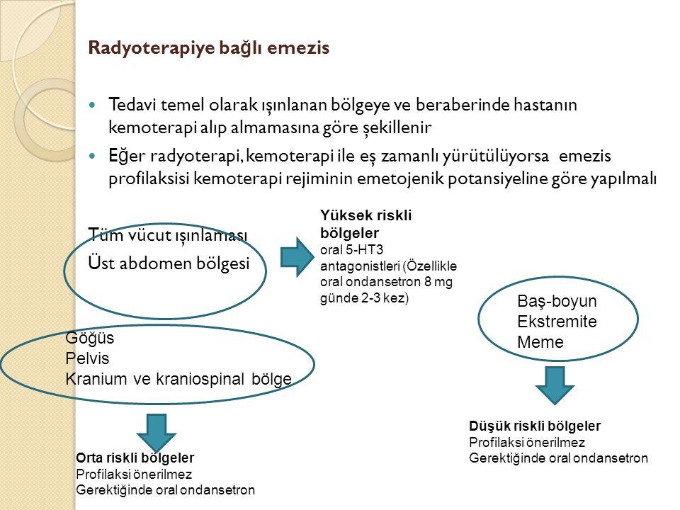 Radyoterapiye ba ğ lı emezis Tedavi temel olarak ışınlanan bölgeye ve beraberinde hastanın kemoterapi alıp almamasına göre şekillenir E ğ er radyotera