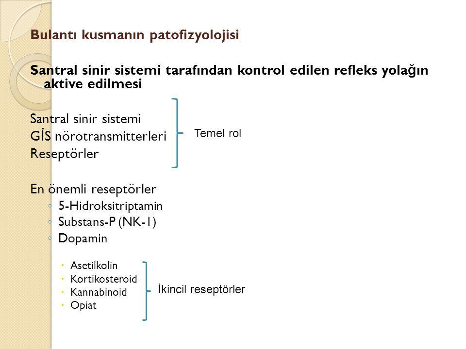 Bulantı kusmanın patofizyolojisi Santral sinir sistemi tarafından kontrol edilen refleks yola ğ ın aktive edilmesi Santral sinir sistemi G İ S nörotra