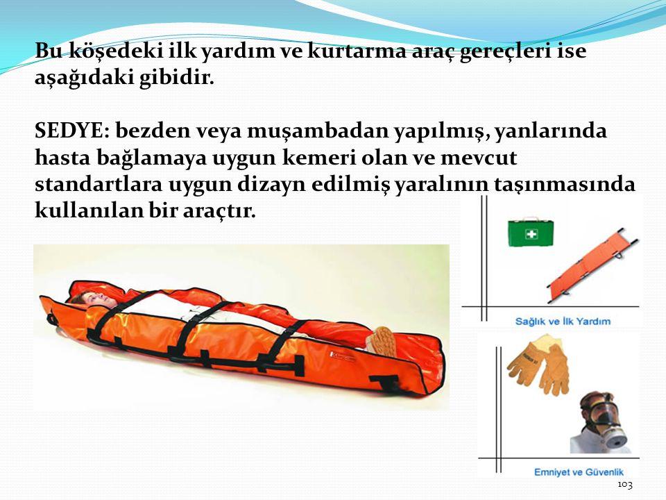 Bu köşedeki ilk yardım ve kurtarma araç gereçleri ise aşağıdaki gibidir. SEDYE: bezden veya muşambadan yapılmış, yanlarında hasta bağlamaya uygun keme