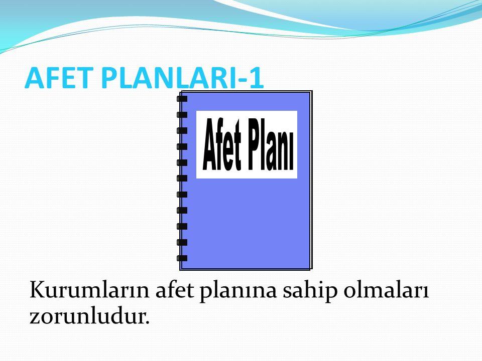AFET PLANLARI-1 Kurumların afet planına sahip olmaları zorunludur.