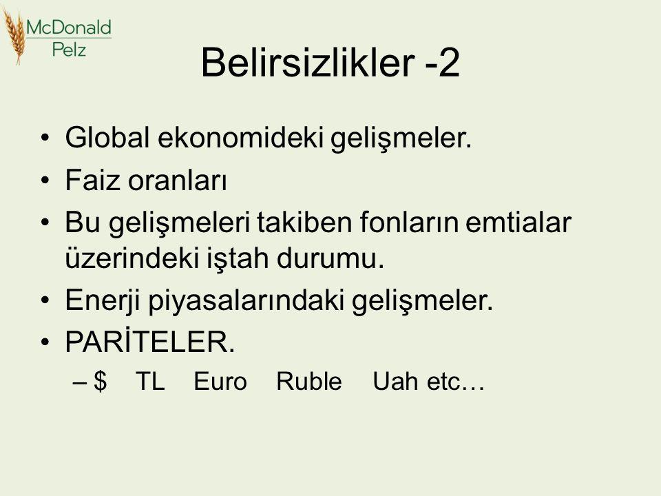 Belirsizlikler -2 Global ekonomideki gelişmeler.