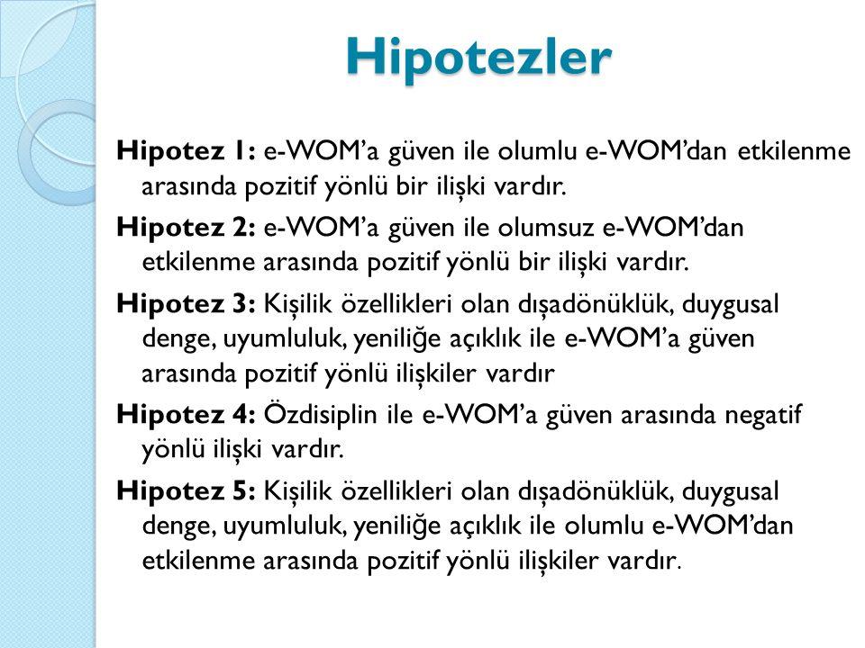 Hipotezler Hipotez 1: e-WOM'a güven ile olumlu e-WOM'dan etkilenme arasında pozitif yönlü bir ilişki vardır.