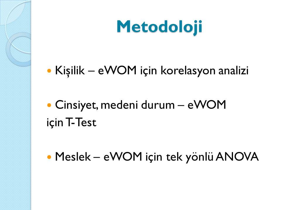 Kişilik – eWOM için korelasyon analizi Cinsiyet, medeni durum – eWOM için T-Test Meslek – eWOM için tek yönlü ANOVA Metodoloji