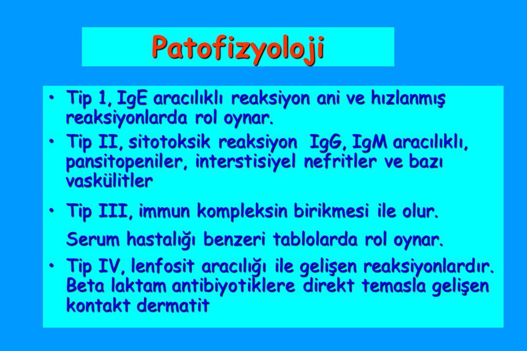 Patofizyoloji Tip 1, IgE aracılıklı reaksiyon ani ve hızlanmış reaksiyonlarda rol oynar.Tip 1, IgE aracılıklı reaksiyon ani ve hızlanmış reaksiyonlarda rol oynar.