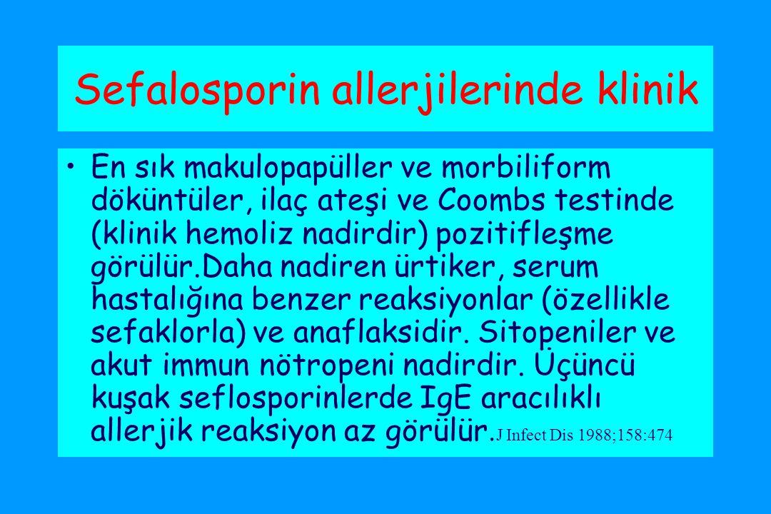 Sefalosporin allerjilerinde klinik En sık makulopapüller ve morbiliform döküntüler, ilaç ateşi ve Coombs testinde (klinik hemoliz nadirdir) pozitifleşme görülür.Daha nadiren ürtiker, serum hastalığına benzer reaksiyonlar (özellikle sefaklorla) ve anaflaksidir.