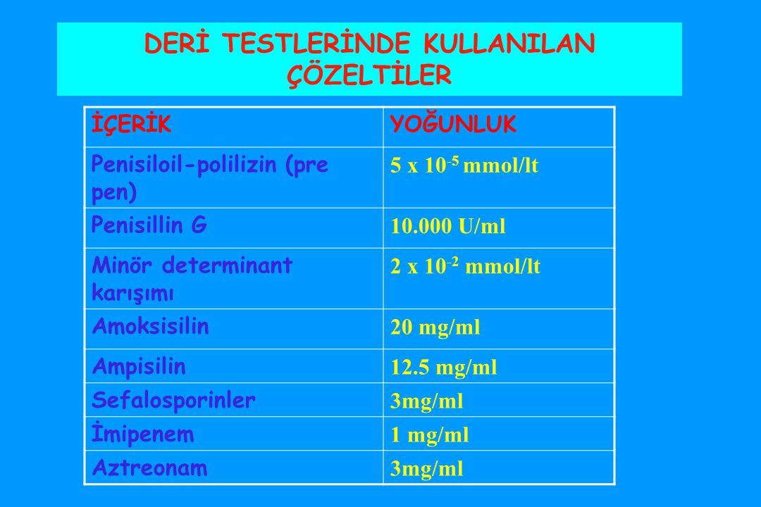 DERİ TESTLERİNDE KULLANILAN ÇÖZELTİLER İÇERİKYOĞUNLUK Penisiloil-polilizin (pre pen) 5 x 10 -5 mmol/lt Penisillin G 10.000 U/ml Minör determinant karışımı 2 x 10 -2 mmol/lt Amoksisilin 20 mg/ml Ampisilin 12.5 mg/ml Sefalosporinler 3mg/ml İmipenem 1 mg/ml Aztreonam 3mg/ml