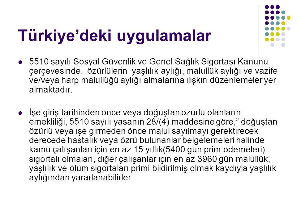 Türkiye'deki uygulamalar 5510 sayılı Sosyal Güvenlik ve Genel Sağlık Sigortası Kanunu çerçevesinde, özürlülerin yaşlılık aylığı, malullük aylığı ve va
